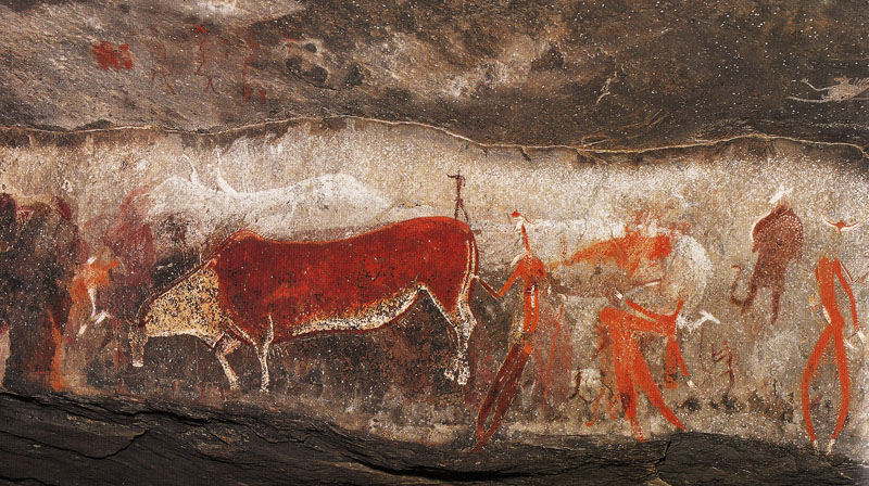 KhoiSan Shaman entering trance by taking on form of Eland in Kamberg Nature Reserve Rock Art